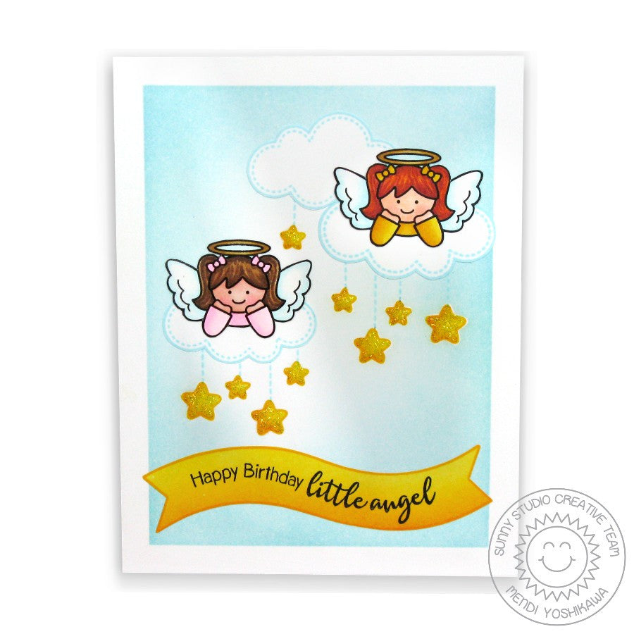 Sunny Studio Stamps Little Angels Happy Birthday Cherubs Card