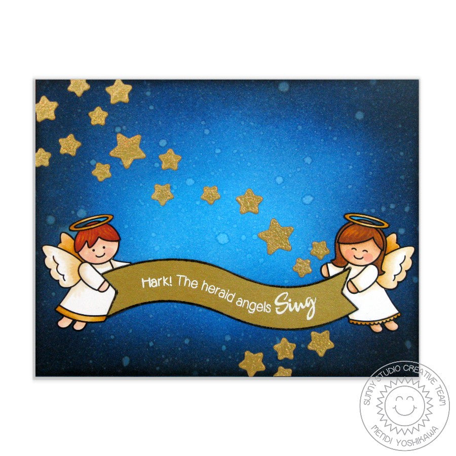 Sunny Studio Stamps Little Angels Hark The Herald Angels Sing Christmas Card