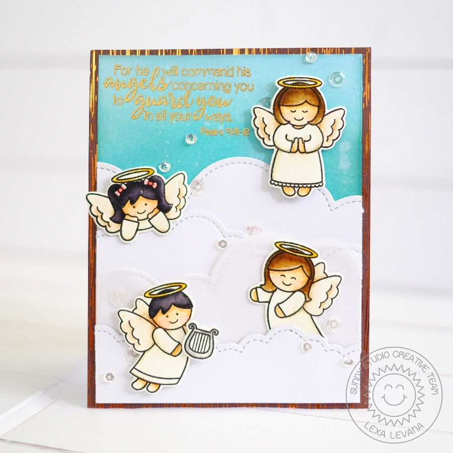 Sunny Studio Stamps Little Angels & Angelic Sentiments May Angels Guard & Protect You Card