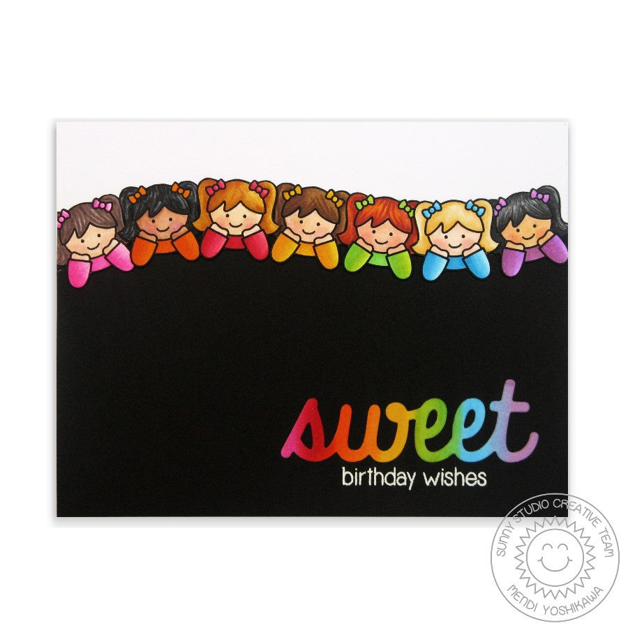 Sunny Studio Stamps Little Angels Sweet Birthday Wishes Birthday Girl Card