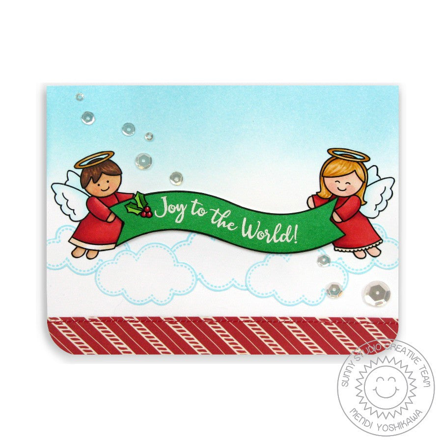 Sunny Studio Stamps Little Angels Joy To The World Christmas Card
