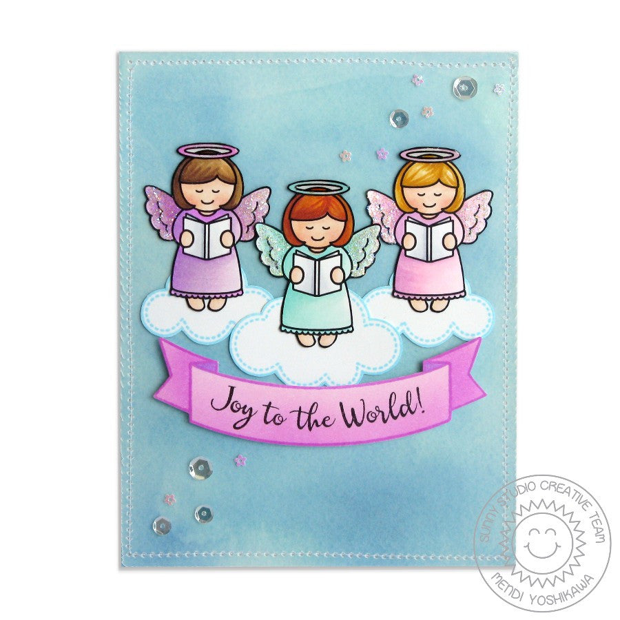 Sunny Studio Stamps Little Angels Joy To The World Angel on Clouds Card