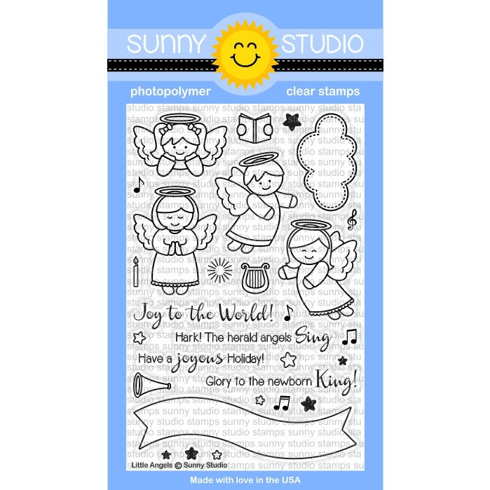 Little Angels Stamps Sunny Studio 4x6 Christmas Photo Polymer Clear Stamp Set