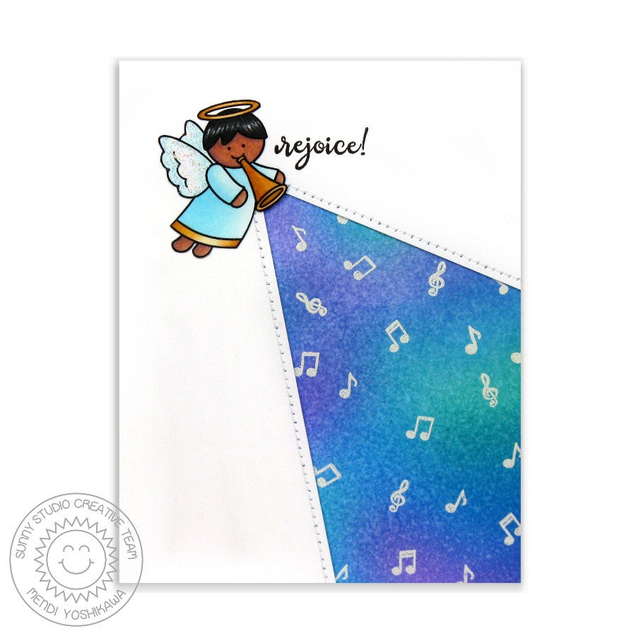 Sunny Studio Stamps Little Angels Rejoice Angel With Horn Card