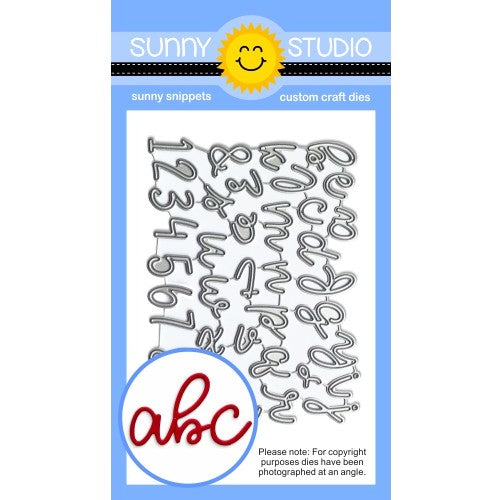 Sunny Studio Stamps Loopy Letter Script Alphabet & Numbers Metal Cutting Die Set
