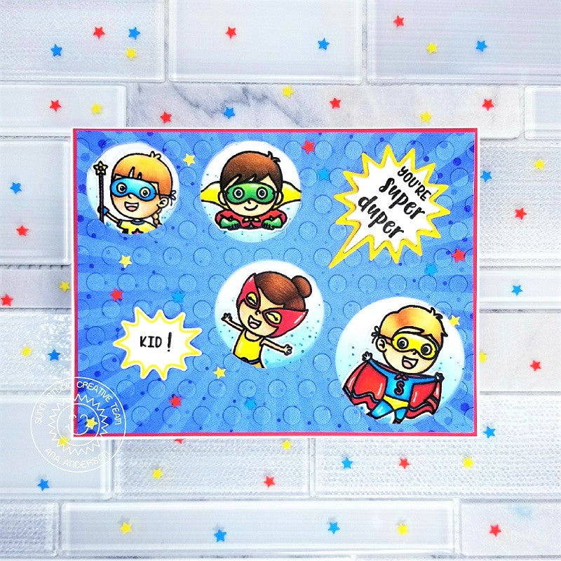 Sunny Studio Stamps Super Duper Superhero Kid Card (using Staggered Circles Stitched Die)