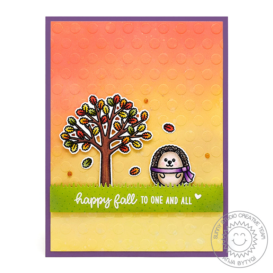 Sunny Studio Stamps Polka-dot Embossed Fall Hedgehog with Sunset Handmade Card by Anja (using Lots of Dots 6x6 Embossing Folder)