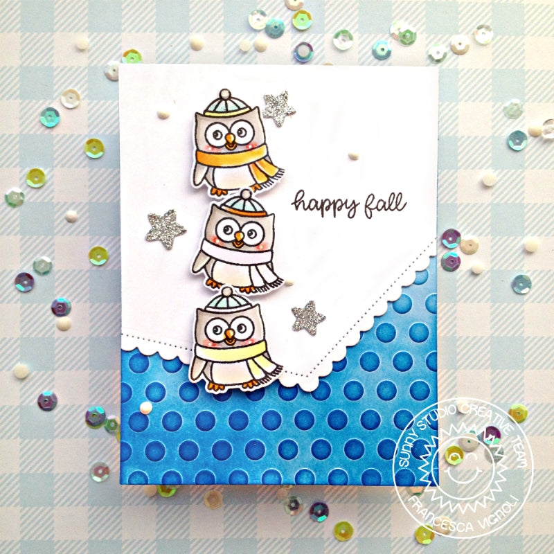 Sunny Studio Stamps Polka-dot Embossed Fall Owl Handmade Card by Franci (using Lots of Dots 6x6 Embossing Folder)