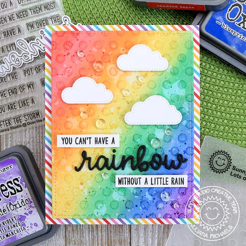 Sunny Studio Stamps Rainbow Polka-dot Embossed Handmade Card by Juliana Michaels (using stitched Fluffy Cloud Dies)