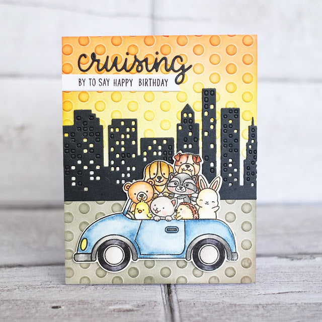 Sunny Studio stamps Cruising By To Say Happy Birthday Polka-dot Embossed City Card (using Cityscape Border Die)