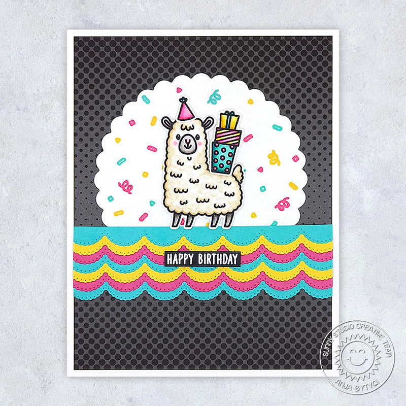 Sunny Studio Stamps Llama Fiesta Birthday Card (using Scalloped Borders from Slimline Pennant Metal Cutting Dies)