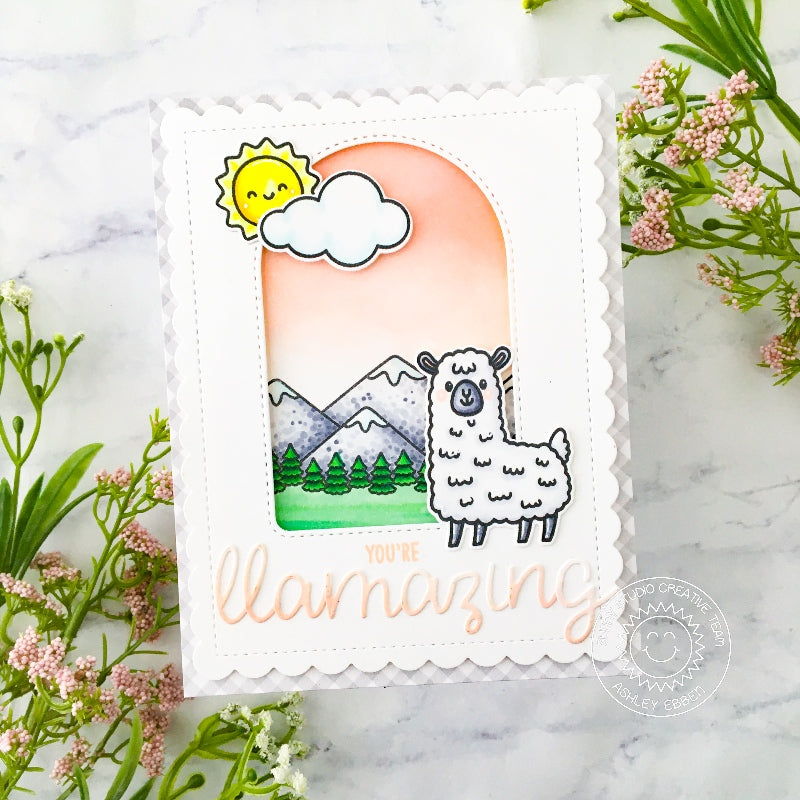 Sunny Studio You're Llamazing Punny Handmade Card (using Lovable Llama 2x3 Clear Stamps)