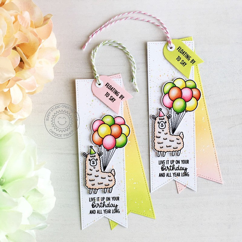 Sunny Studio Llama with Balloons Bookmark Birthday Gift Tags Card (using Slimline Pennant Dies)