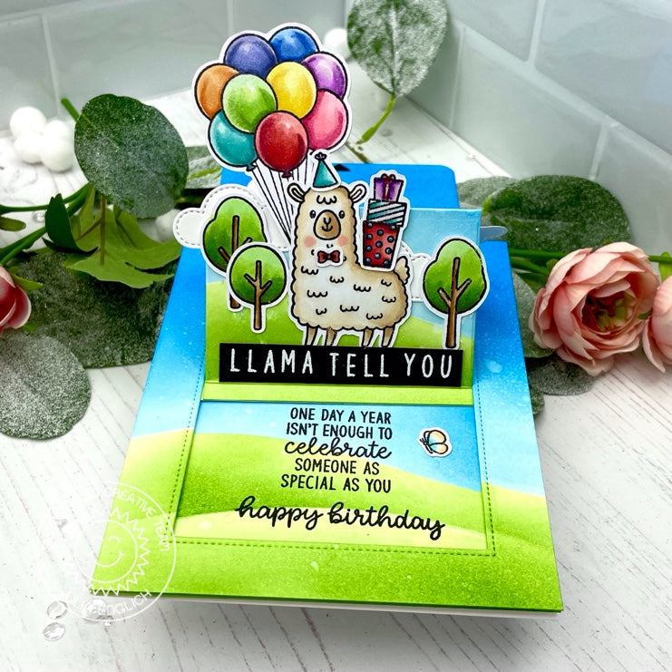 "Sunny Studio ""One Day A Year Isn't Enough To Celebrate Someone as Special as You"" Llama Pop-up Sliding Window Card (using Inside Greetings Birthday Clear Stamps)"
