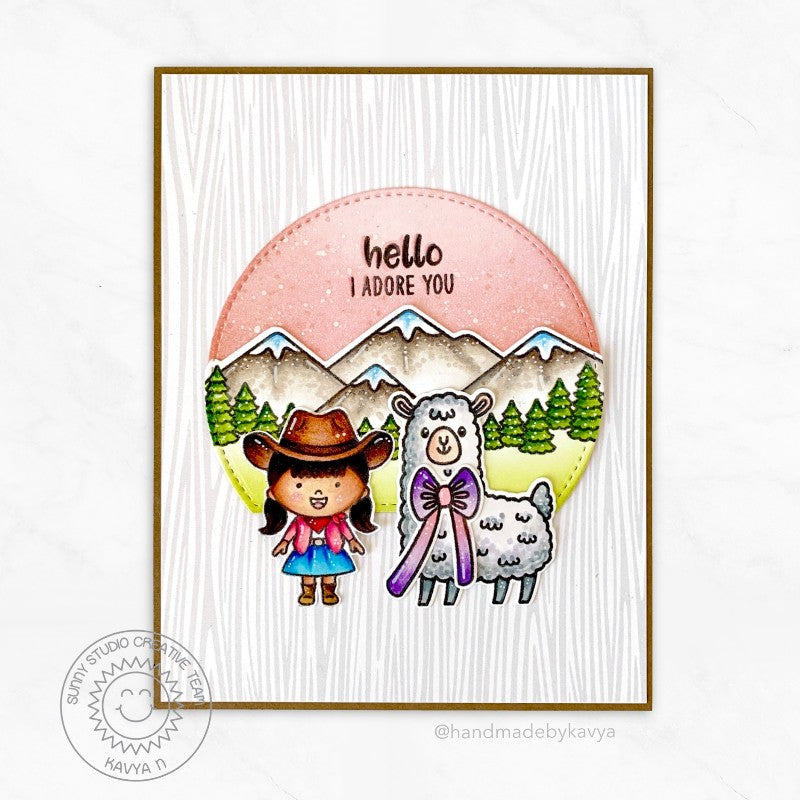Sunny Studio Hello Cowgirl with Alpaca Card by Kavya (using Lovable Llama Mini Clear Stamps)