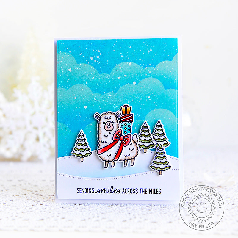 Sunny Studio Sending Smiles Across The Miles Alpaca Llama Winter Birthday Card (using Lovable Llama 2x3 Clear Stamps)