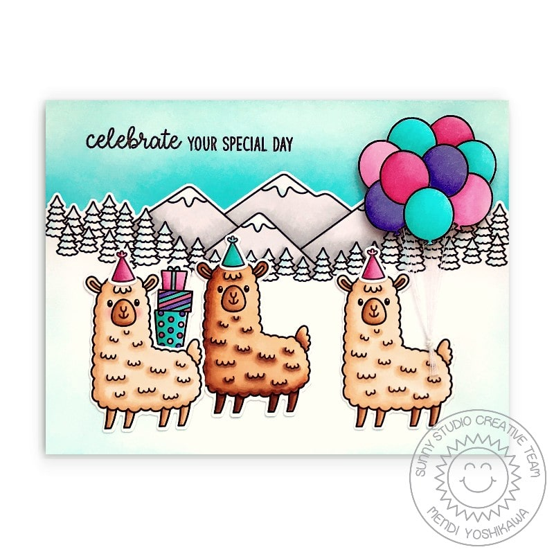 Sunny Studio Celebrate Your Special Day Birthday Party in Swiss Alps with Balloons Handmade Card (using Lovable Llama 2x3 Clear Stamps)