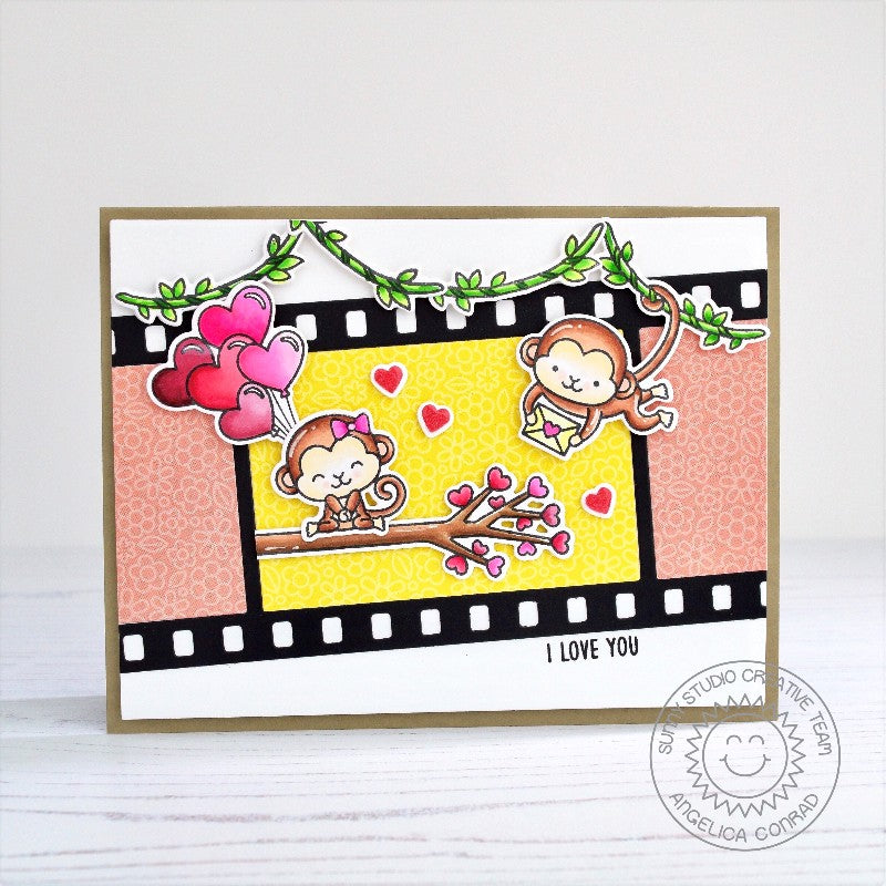 Sunny Studio Stamps Love Monkey Valentine's Day Card (using Fall Flicks Filmstrip Dies)