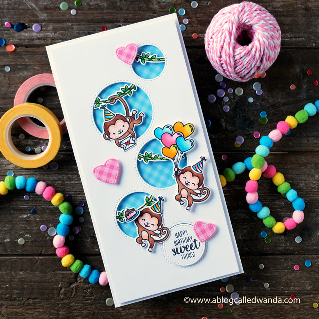 Sunny Studio Stamps Love Monkey Long Circle Birthday Card