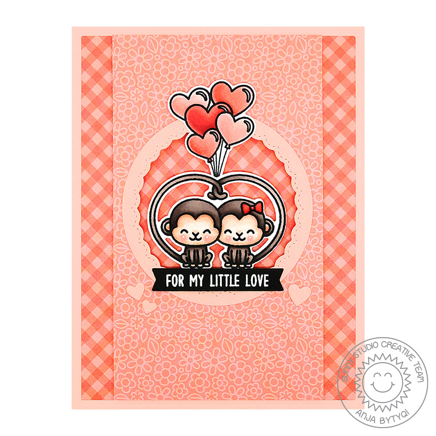 Sunny Studio Stamps Love Monkey Coral Gingham Valentine's Day Card