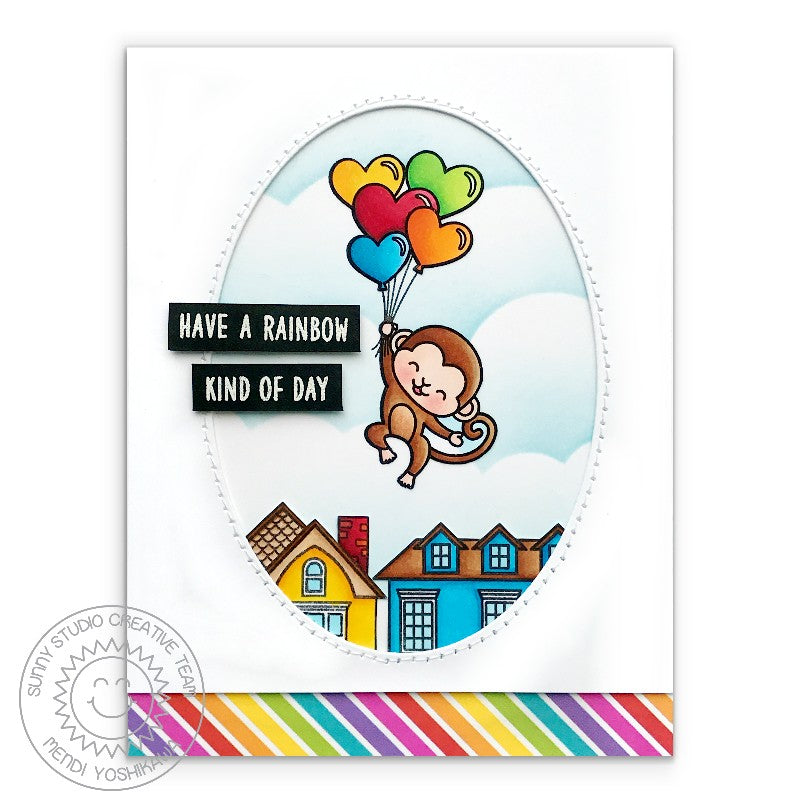 Sunny Studio Monkey Floating with Heart Balloons Card (using Over The Rainbow Sentiment Stamps)