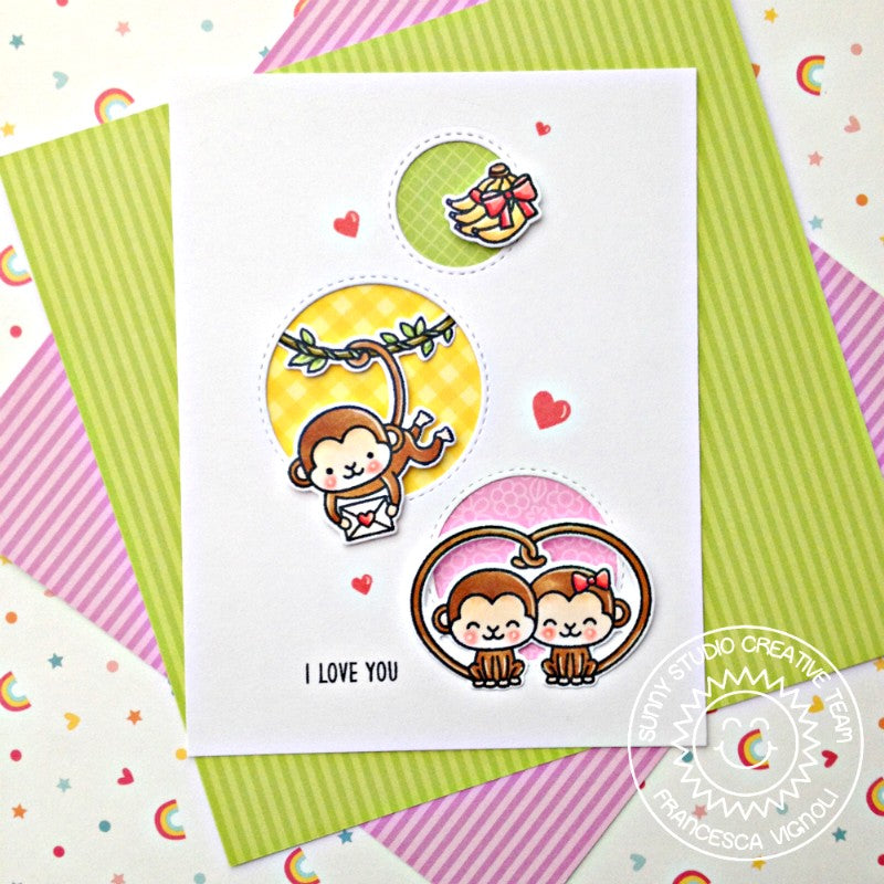 Sunny Studio Stamps I Love You Monkey Card (using Staggered Circles Die)