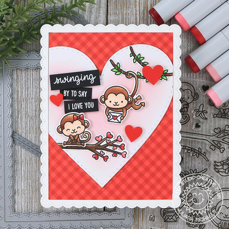 Sunny Studio Stamps Love Monkey Valentine's Day Card (using Stitched Heart Dies)
