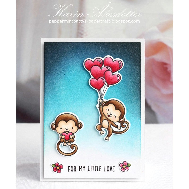 Sunny Studio Stamps Love Monkey Card Heart Balloons Card