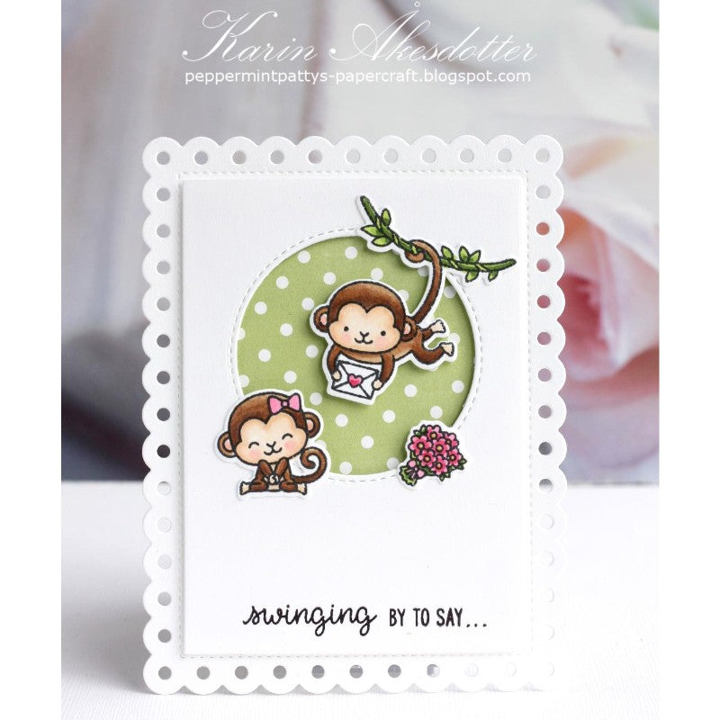 Sunny Studio Stamps Love Monkey Card (using Frilly Frames Polka-dot Dies)