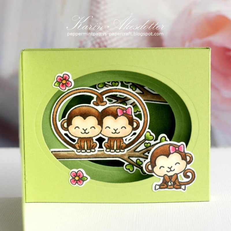 Sunny Studio Stamps Love Monkey Layered Pop-up Card by Karin