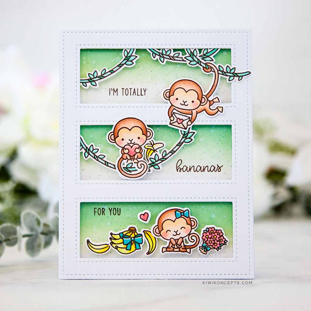Sunny Studio Stamps Love Monkey I'm Bananas For You 3 Window Card