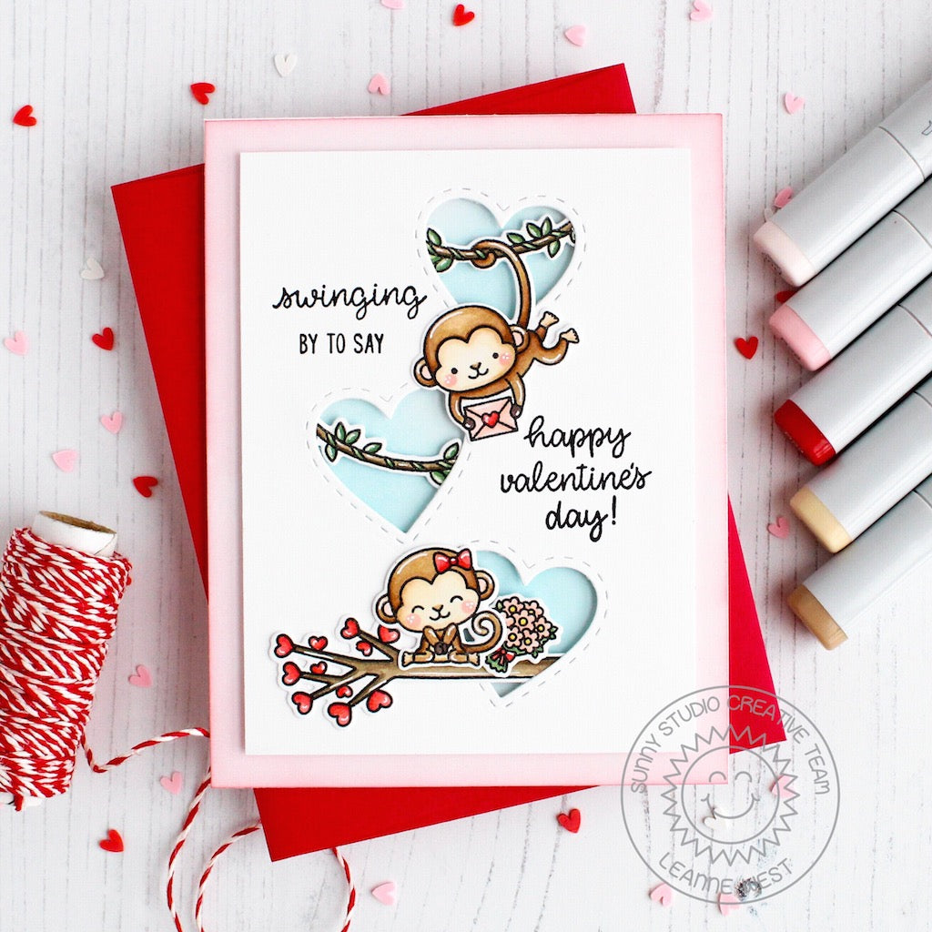 Sunny Studio Stamps Love Monkey Valentine's Day Card by Leanne West (with a trio of windows using Stitched Heart Dies)
