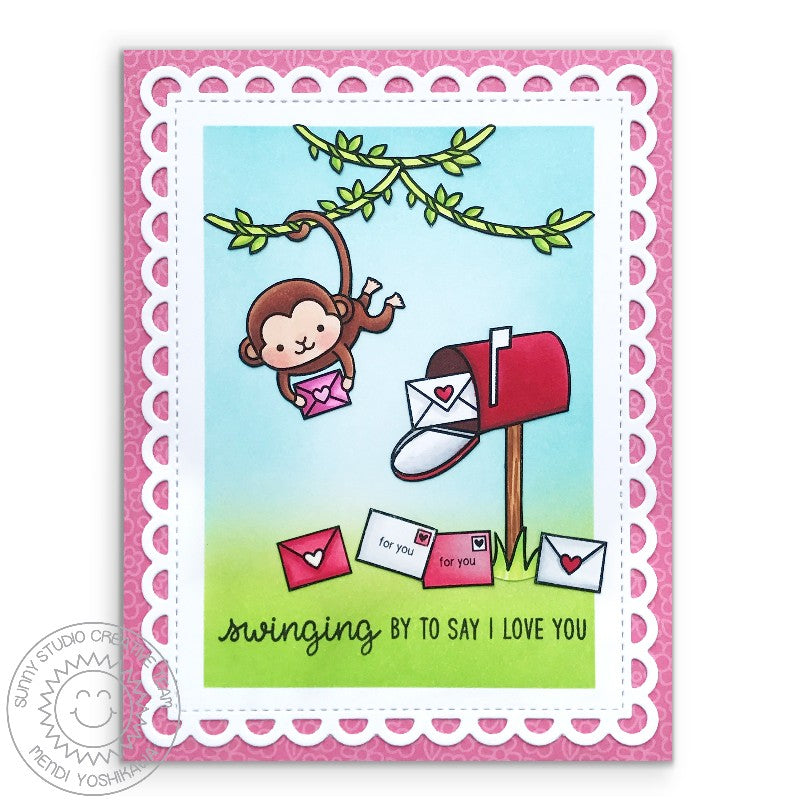 Sunny Studio Stamps Monkey Valentine's Day Card with Lacey Scalloped Mat (using Frilly Frames Lattice Dies)