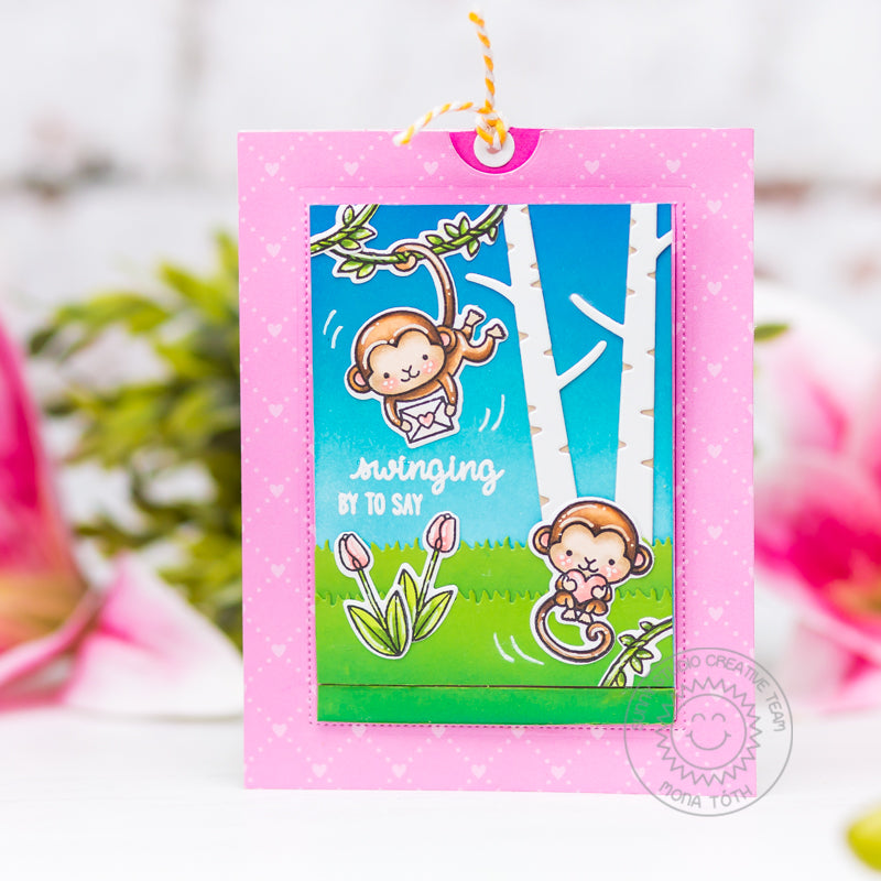 Sunny Studio Stamps Swing By To Say Hi Spring Monkey Interactive Sliding Window Card (using Rustic Winter Birch Tree Dies)