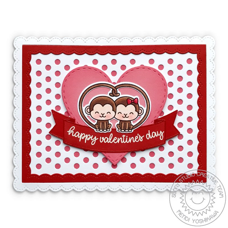 Sunny Studio Stamps Love Monkey Valentine's Day Heart Card (using Frilly Frames Polka-dot Dies)