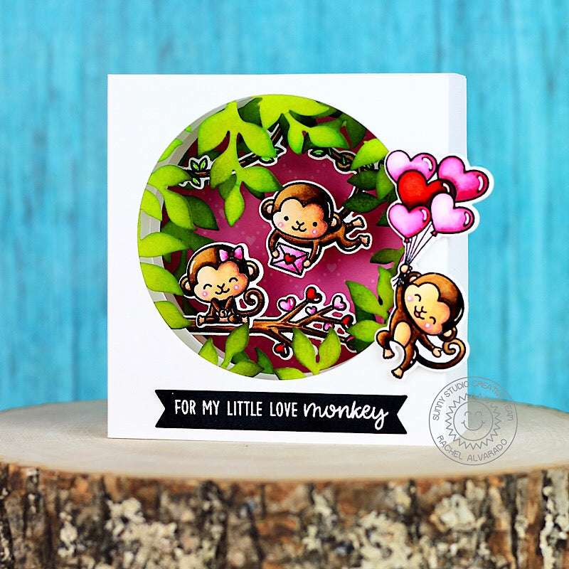 Sunny Studio Stamps Monkey Valentine's Day card by Rachel (using Botanical Backdrop dies)