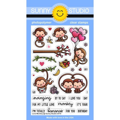 Sunny Studio Stamps Love Monkey 4x6 Photopolymer Clear Valentine's Day Stamp Set