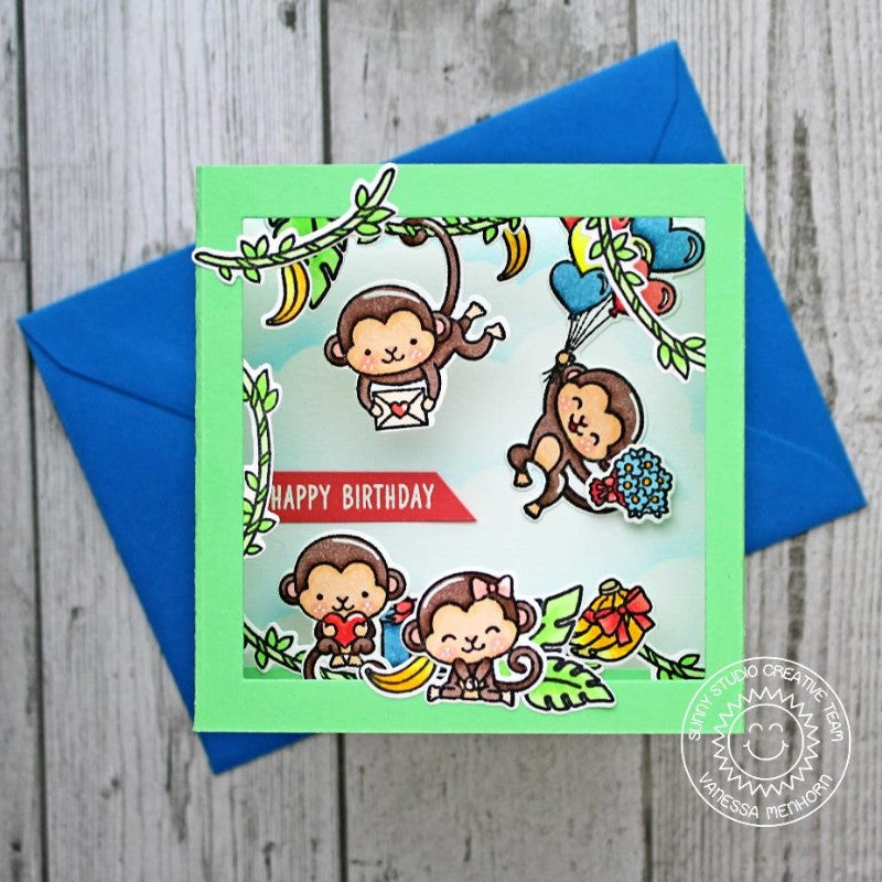 Sunny Studio Stamps Love Monkey Pop-up Shadow Box Card