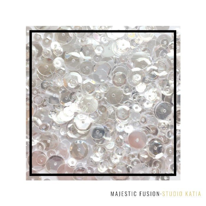 Studio Katia Majestic Clear Fusion 4MM, 6MM, 8MM & Flat Sequins Mix