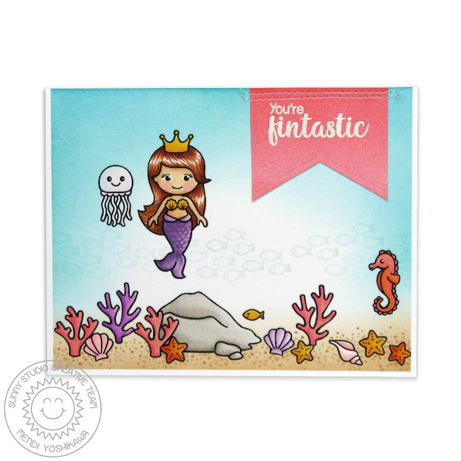 Sunny Studio Stamps Magical Mermaids You're Fintastic Card