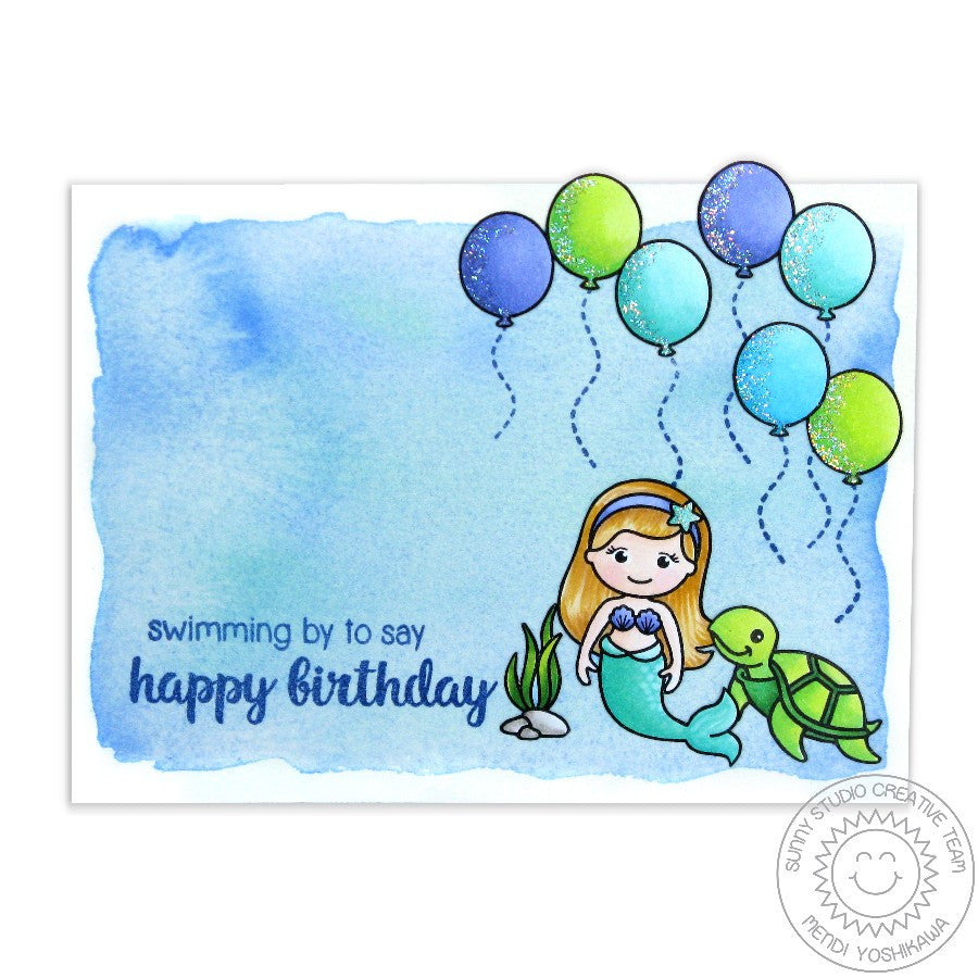 Sunny Studio Stamps Magical Mermaids Happy Birthday Balloons Card
