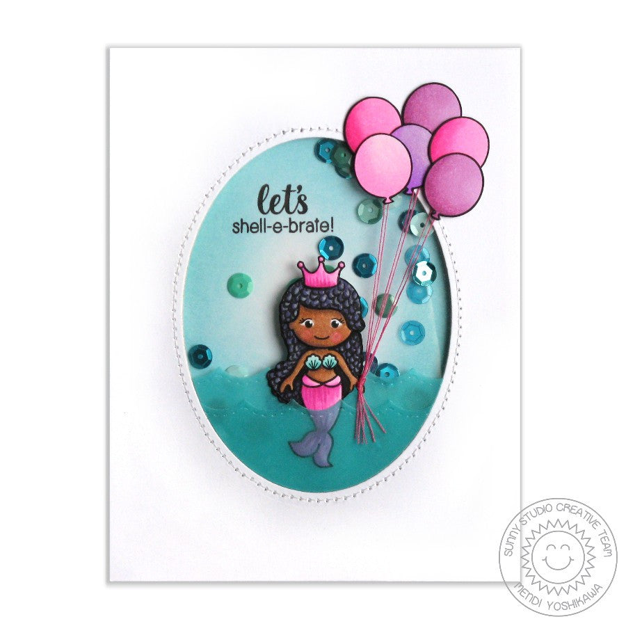 Sunny Studio Stamps Magical Mermaids Let's Shell-e-brate Birthday Shaker Card