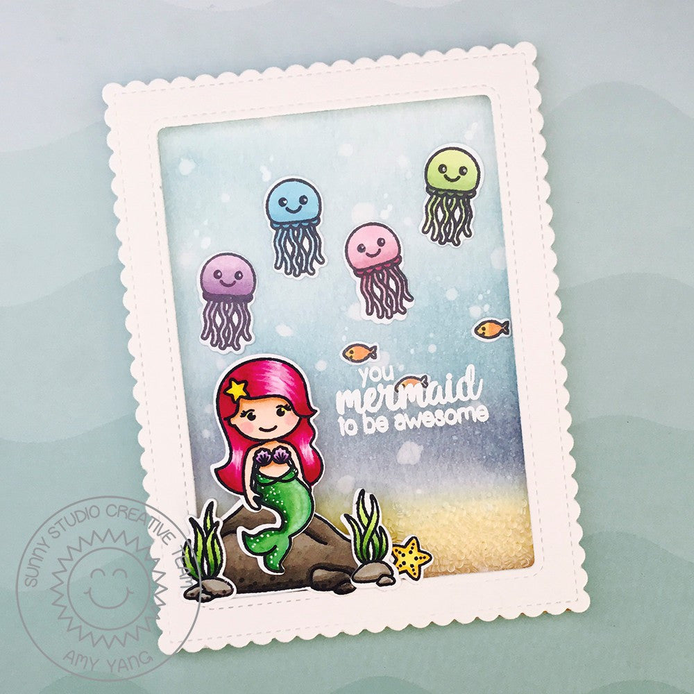Magical Mermaids Little Mermaid with Jellyfish Card