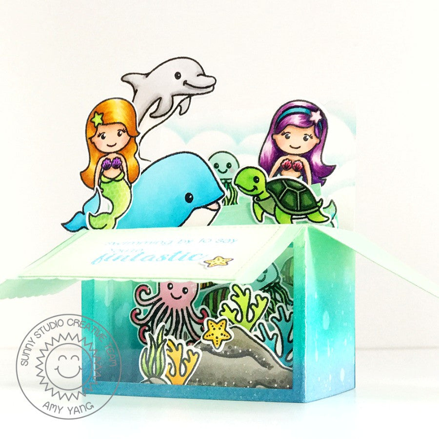 Sunny Studio Stamps Magical Mermaids Under The Sea Pop-up Box Card