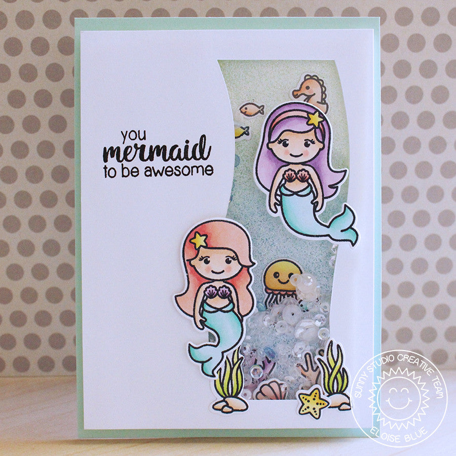 Sunny Studio Stamps Magical Mermaids Shaker Card