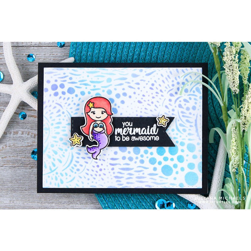 Sunny Studio Stamps Magical Mermaids Stencil Background Card