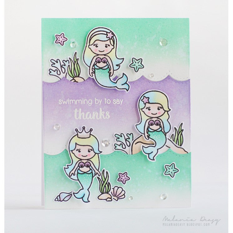 Sunny Studio Stamps Lavender & Aqua Magical Mermaid Card