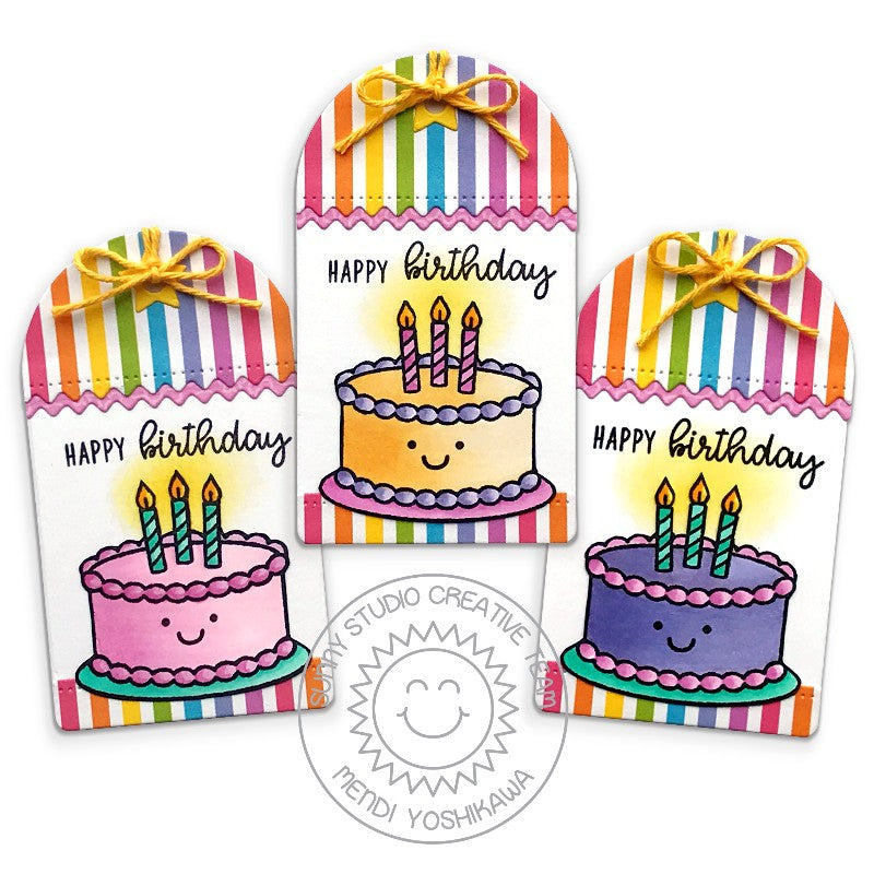 Sunny Studio Stamps Rainbow Striped Birthday Gift Tags (using Spring Sunburst 6x6 Paper Pack)