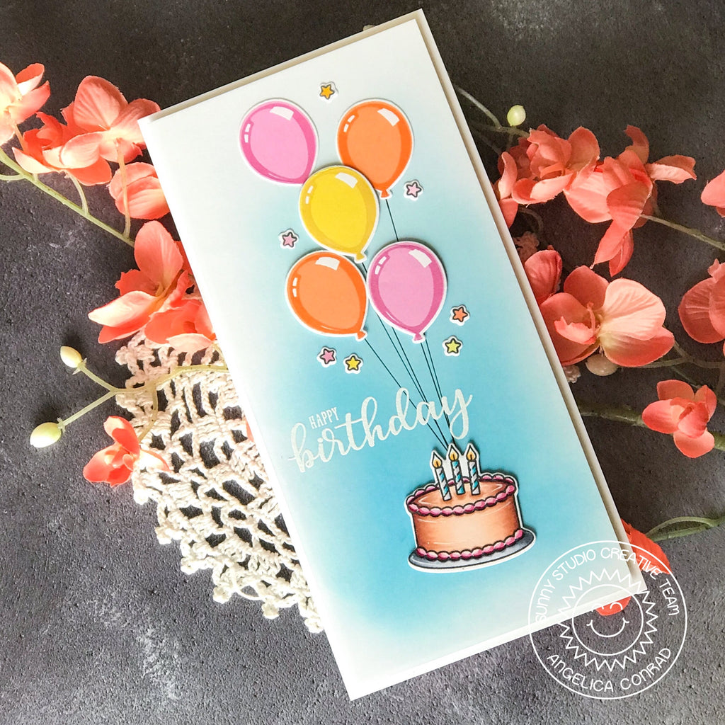 Sunny Studio Stamps Make A Wish Balloons & Birthday Cake Long Vertical Card