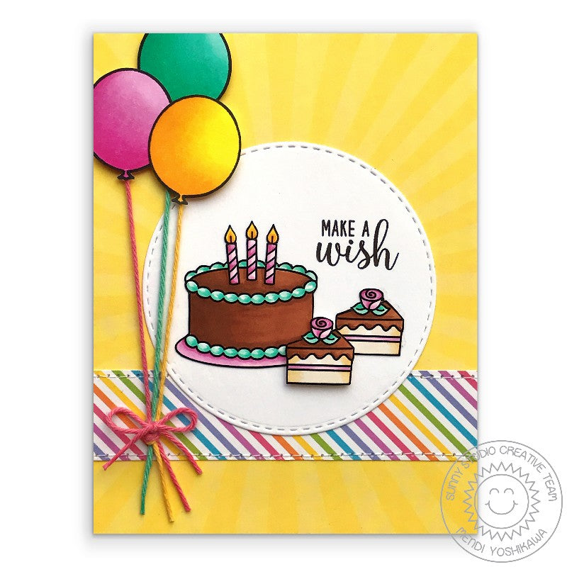 Sunny Studio Birthday Cake with Candles & Balloons Card (using Make A Wish 2x3 Stamps)